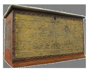 bauletto – teak decorato a foglia d'oro – XIX sec.
