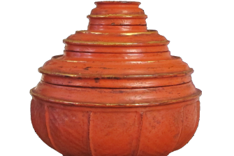 vaso per offerte rituali (Hsùn-ok) laccato in rosso – XIX sec.