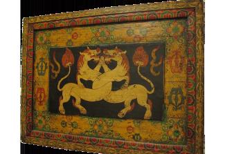 pannello decorato con leoni delle nevi – XIX sec.