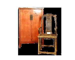 cabinet laccato e seggiola laccata – XVII sec.